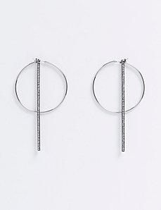 Hoop Earrings with CZ Sticks