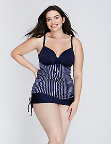 Nautical Striped Shimmer Swim Tank with Built-In Balconette Bra