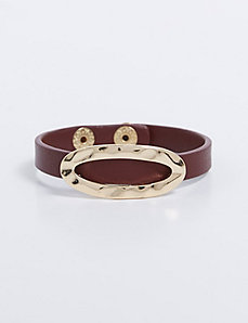 Faux Leather Bracelet with Oval Detail