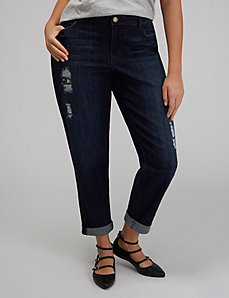 Destructed Sequin Boyfriend Jean
