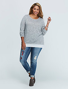 Mixed-Fabric Top with Zip Back