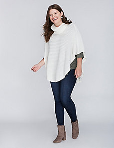Cashmere Blend Poncho Sweater with Decorative Rib
