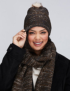 Olive Knit Hat with Pom Pom