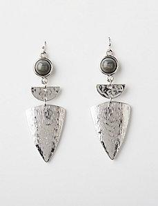 Shield Drop Earrings with Gray Stone