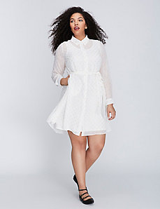 Clip Dot Belted Shirtdress