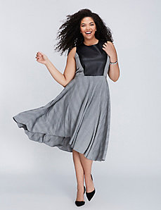 Faux Leather & Herringbone Fit & Flare Dress