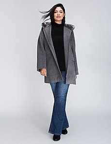 Faux Fur Collar Zip Up Coat
