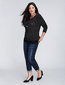 Chiffon-Hem Textured Sweater