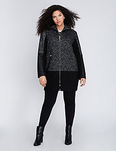 Boucle Faux Leather Coat