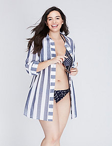 The Striped Boyfriend Shirt Swim Cover-Up