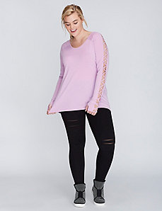 Lattice-Sleeve Tee by Jessica Simpson