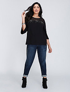 Top with Embellished Chiffon Overlay