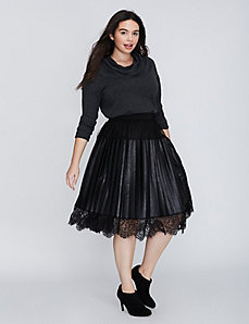 Pleated Faux Leather Skirt with Lace Trim
