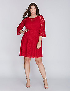 Lace Fit & Flare Dress with Flounce Sleeves