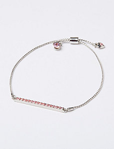 Breast Cancer Awareness Adjustable Bracelet with Pave Bar