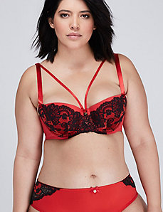 Lace Lightly Lined Balconette Bra with Satin Straps