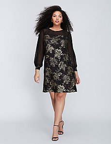 Metallic Lace Overlay Shift Dress by Julia Jordan