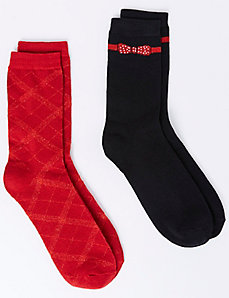 Bow & Plaid Crew Socks 2-Pack