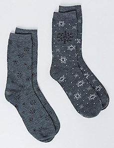 Sparkle Snowflake Crew Socks 2-Pack