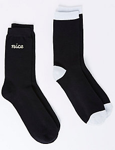 Naughty or Nice Crew Socks 2-Pack
