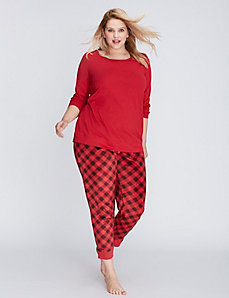 Buffalo Check Long-Sleeve Tee & Fleece Pant PJ Set