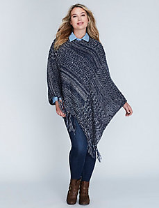 Blue Knit Poncho with Fringe