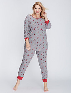 Reindeer Thermal Long-Sleeve Tee & Legging PJ Set