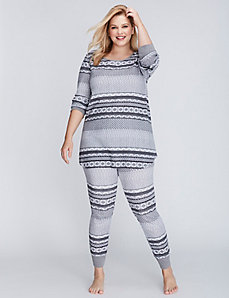 Fair Isle Thermal Long-Sleeve Tee & Legging PJ Set