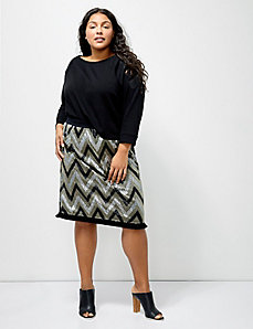 6th & Lane Sequin Chevron Skirt