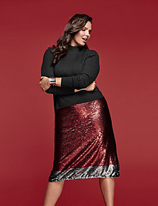 Sequin A-Line Skirt by GLAMOUR X LANE BRYANT