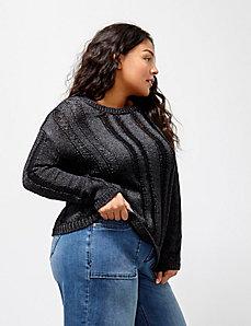 6th & Lane Metallic Drop-Stitch Sweater