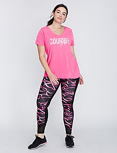 Ruched-Sleeve Courage Graphic Active Tee