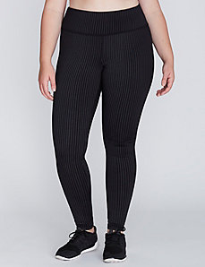 Wicking Striped Active Legging with Brushed Fabric