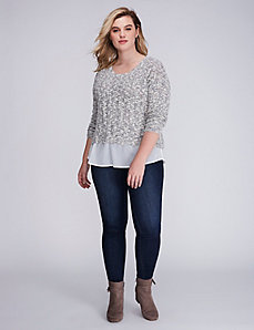 Shirttail Hem Textured Pullover Sweater