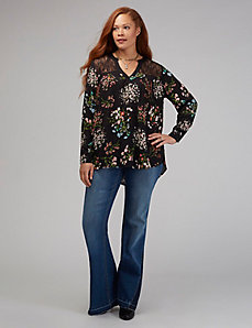 Lace Yoke V-Neck Shirt
