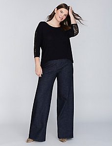 3/4-Sleeve Top with Lace Sleeves