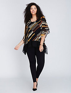 Ruffled-Neck Chiffon Drama Top