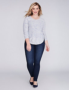 Marled Sweater with Button Circle Hem