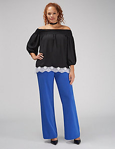 Off-the-Shoulder Top with Lace Trim