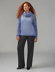Open-Stitch Cowl-Neck Sweater