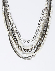 Chain and Faux Pearl Necklace