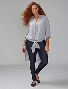 High-Low Knot-Front Tunic Shirt