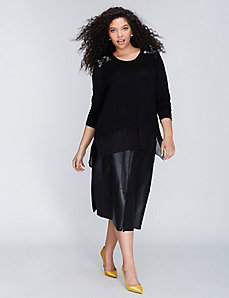 Embellished Mixed Fabric Top by Melissa McCarthy Seven7