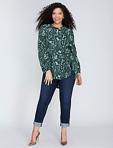 Keyhole-Front Draped Blouse by Melissa McCarthy Seven7
