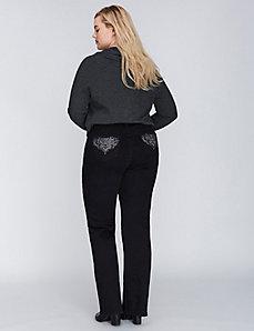 Black Boot Jean with Embellished Pockets