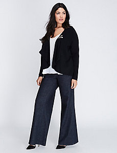 Open Cardigan with Pleated Chiffon Back