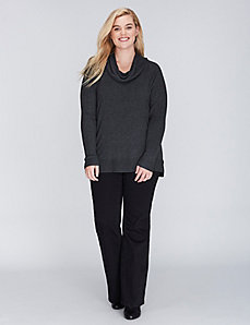 Ribbed-Sleeve Cowl-Neck Sweater