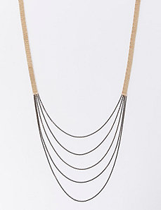 Long Two-Tone Multi-Layer Chain Necklace