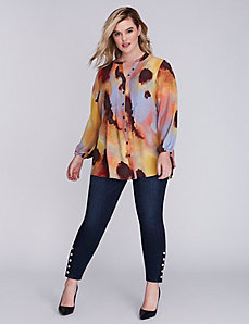 Printed Pintuck Blouse by Melissa McCarthy Seven7