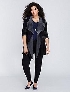 Ombre Plaid Sweater Coat